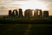 Coucher de soleil d'automne sur Stonehenge - England
